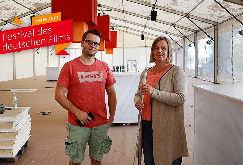 Letzter Schliff an der Zeltstadt des Filmfestivals